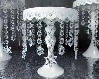 "White Metal Round Cake Stand with Crystal Snowflake - 8"" / 10"" / 12"" - Wedding Cake, Cupcake, Dessert Display"