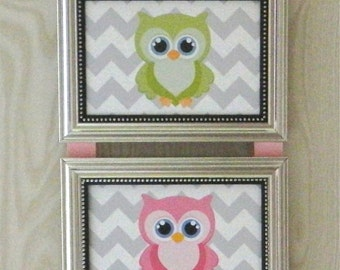 Kids Room Nursery Owls On Chevron Picture Collage Hanging Wall Art Decor