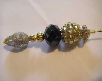 5 inch hatpin , lapel pin, shawl pin,stick pin gold tone w/ various beads and findings