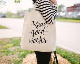 Read Books Tote Bag - Canvas Tote Bag - Funny Tote Bag - Nerd Tote - Book Bag - Screen Printed Tote Bag