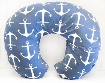 Navy Nautical Anchor Boppy Pillow Cover