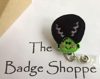 Bride of Frankenstein on a Retractable ID Badge Holder-Halloween Badge Reel/Halloween Gifts/Frankenstein Badge/Halloween Badge-Nursing Gifts