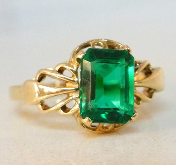 vintage 1 5ct emerald ring 14k yellow gold by kimsjewelrylove