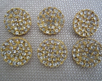 Six (6) Vintage Rhinestone Buttons In Gold-Tone Setting