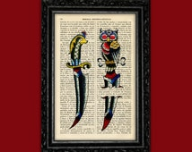 Daggers American Traditional Book Art Print - Nº1 Tattoo Images Poster Dorm Room Print Gift Print Wall Decor Poster Dictionary Vintage Art