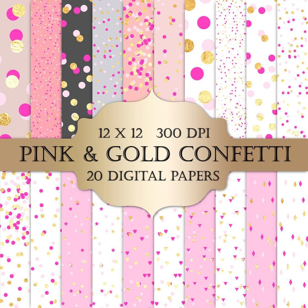 How to scrapbook with glitter paper - Valentines Confetti Digital Paper Gold Foil Confetti Pink Gold Polka Dot Hearts Triangles Confetti Glitter Printable Backgrounds