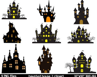 Haunted House Silhouette Clipart | Haunted Mansion Clipart | Haunted Houses Clipart | Halloween Clipart |  Halloween House Clipart