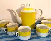 COFFEE SERVICE FOR 6 Mid Century Modern Coffee Pot, Taste Seller Sigma, Yellow, Retro, Vintage, Gold Trim, Summer