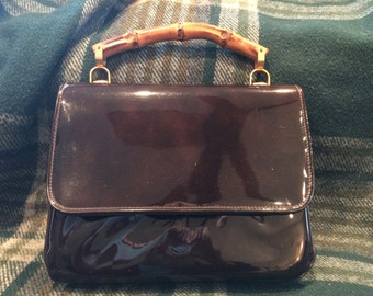 Women's Vintage Brown Patent Leather HANDBAG with Bamboo Handle
