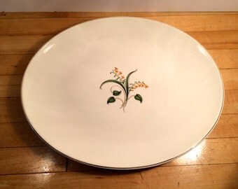 "Large 15"" OVAL SERVING PLATER, Yellow Flower, Floral"