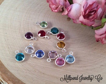 Birthstone Charms, Connector Charms, Bezel Birthstone Charm, Crystal Birthstones, Silver Plated Charms, 12 Pieces, 1 of Each Month