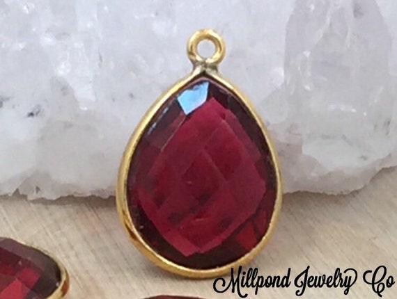 ruby bezel pendant gemstone pendant bezel teardrop pendant