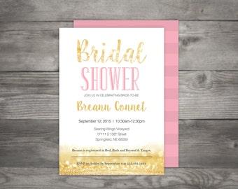Gold, White, Pink Bridal Shower Invitation