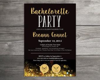 Gold, Black, Bachelorette Party Invitation