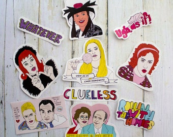 Clueless Sticker Pack / 90s Gift Women's Birthday Christmas Funny Illustration Hand Drawn Quotes Girly Nineties