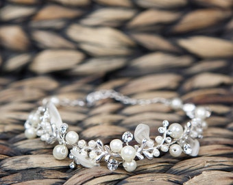 Wedding Bracelets, White Pearl Wedding Bracelet with Crystal