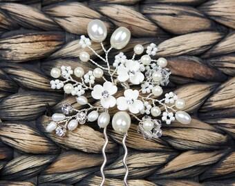 Wedding Comb, Bridal Hair Comb, Wedding Pearl Flower Hair Comb