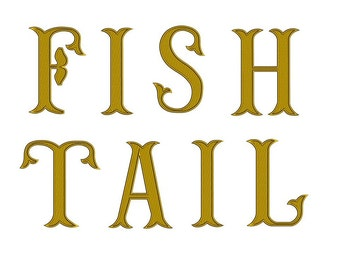 Large Fish Tail Monogram Embroidery Font Upper Case Satin Stitch Digitized -Instant Download-4,5,6 inch