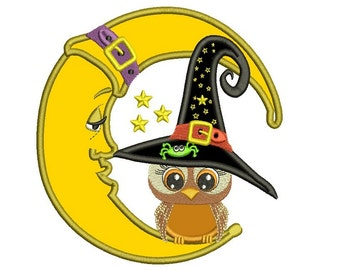 Owl Sitting on The Moon Wearing Witch Hat Halloween Applique Machine Embroidery Digitized Design Pattern  - Instant Download -4x4 , 5x7,6x10
