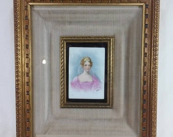 Framed French Duchesse of abrantes hand painted porcelain tile by bizet duchess