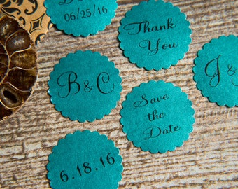 100+ Teal Save the Date Envelope seals, wedding stickers invitations. Printed Scalloped Round wedding Favour stickers Matt Pearlised shimmer