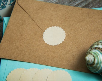 Cream Envelope seals, wedding stickers stationary. Scalloped Round Favour stickers, gift bag. Matt Pearl shimmer cream printed wedding seals