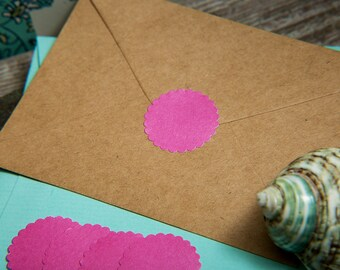 Fuchsia Pink Envelope seals, wedding stickers stationary. Scalloped Round Favour stickers, gift bag. Matt Pearl shimmer Hot Pink wedding.