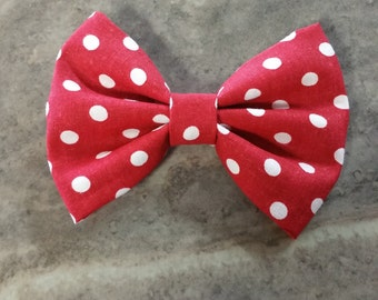 Red & White Polka dotted Hair Bow