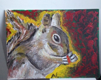11*14 Original Painting on Canvas Panel - Squirrel