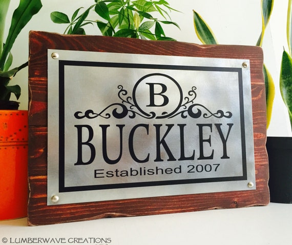 Sign name Rustic signs wooden Name Monogram  With and Family Sign family Established rustic  Family