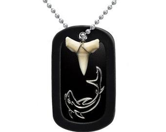 Engraved Shark Design with Real Shark Tooth Aluminum Dog Tag Necklace - DOJAN110