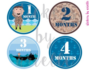 Month by Month Baby Stickers - Navy Theme