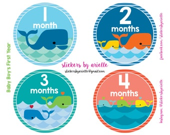Month by Month Baby Boy Stickers - Whale