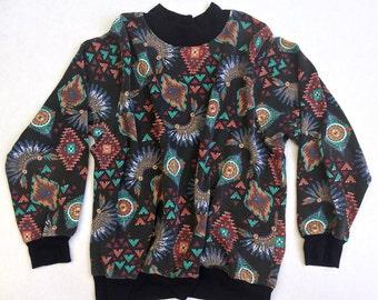 Aztec 80s Vintage Sweatshirt | Vintage Southwestern 80s Pullover | Tribal Eighties Jumper