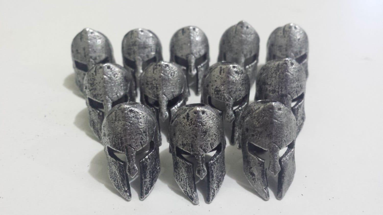 spartan helmet pewter bead