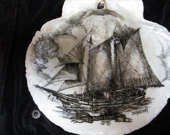 SCHOONER HERITAGE on Maine Scallop Shell