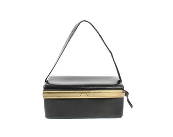 Vintage 40s 50s Leather Box Purse Black Handbag Pinup Rockabilly Bag 1940s 1950s Womens Accessories Cocktail Bag Art Deco
