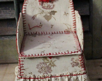 Faux Chair Sewing Box Fabric Handstitched Folk Art