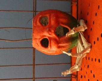 Papier Mache Pumpkin Halloween Candy Container Vintage