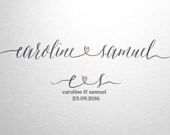 Wedding names logo - Wedding initials logo - Wedding monogram - Heart logo - Custom photography logo - Wedding logo - Wedding initials