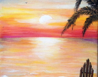 BEACH PAINTING, beach chair,custom painting,original art