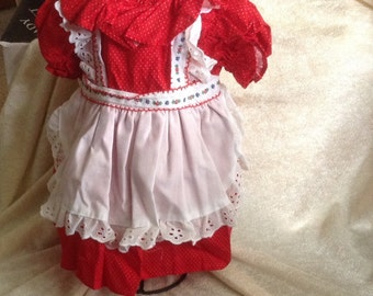 Vintage Christmas Red Doll Dress with Apron
