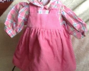 Pretty in Pink Corduroy Jumper Dress