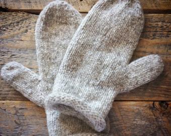 Hand knit natural mittens - womens wool knit mittens - gray - grey - soft wool - warm mittens - winter mittens - lightweight mittens