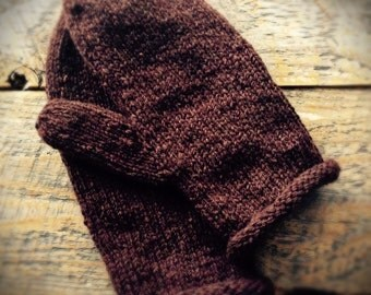Womens wool mittens - brown wool mittens - knit mittens - hand knitted mittens - Womens mittens - winter mittens - handmade mittens