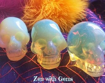 Opalite Skull, Samhain, Halloween, Pagan Altar, Ritual Ceremony, Crystal Grid, Day of the Dead, Dia de los Muertos!