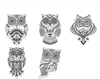 Blackwork Owls - Machine Embroidery Designs Instant Download 4x4 5x5 6x6 hoop 5 designs APE2192