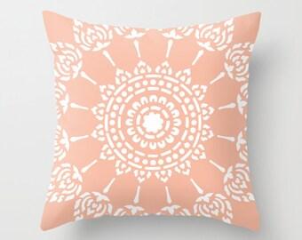 Peach Mandala Pillow with insert - Modern Home Decor - Medallion Accent Pillow - Decorative Pillow -