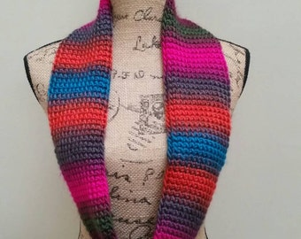 Tunisian Crocheted Multi-color Infinity Scarf