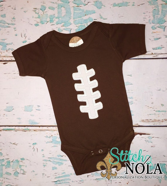 Brown Bodysuit with Football Laces Applique